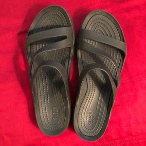 Crocs iconic comfort sandals.  Black, Size 7w